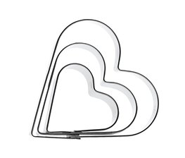 Kakmått Hjärtan i 3 storlekar